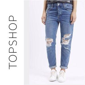 Topshop Denim - Topshop MOTO Blue Ripped Hayden Boyfriend Jeans