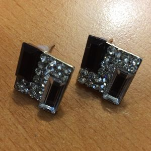 Jewelry - New Black and Silver Square Stud Earrings