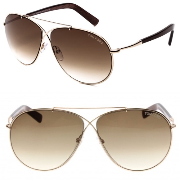 05cf67fbf13 Tom Ford Eva TF 374 Aviator Sunglasses Brown Gold.  M 5863499513302a316403288e