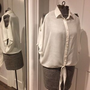 Mine Tops - Cold Shoulder, White Button Down Blouse with Ties.