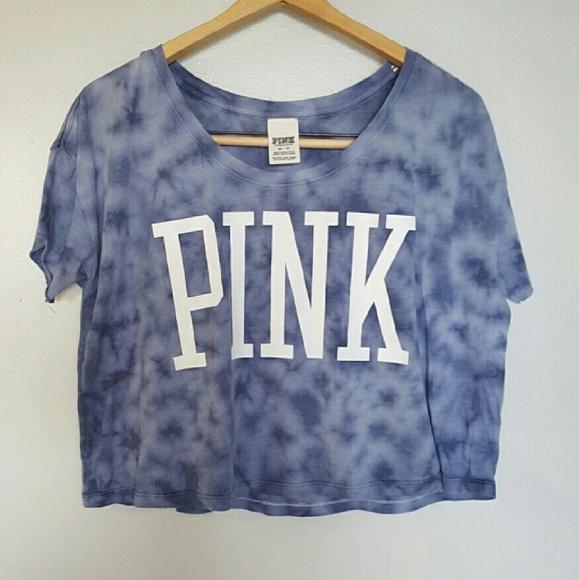 9a7b35c3a09 PINK Victoria s Secret Tops - PINK TIE-DYE ACID WASH CROP TOP