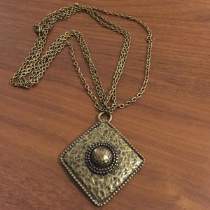 Brass diamond pendant 3 chain statement necklace