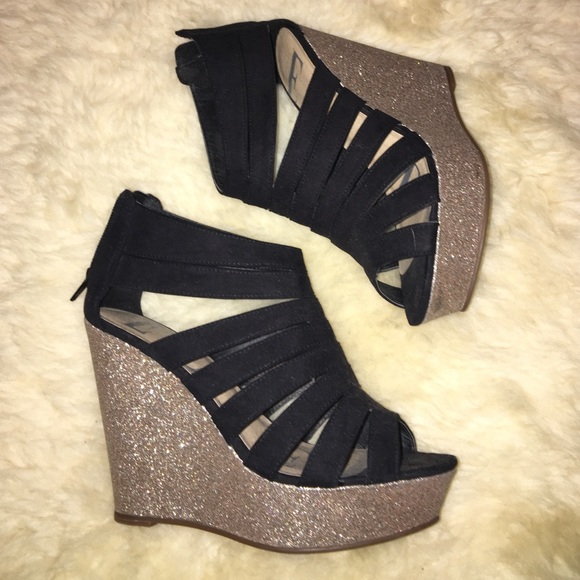 06cdb28b28f4 Elle Shoes | Black Suede Wedges With Gold Glitter Heel | Poshmark