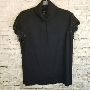 Alfani Silk and Nylon Short Lace Sleeve Sweater