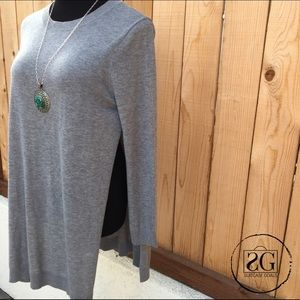 Tops - Grey Side Slit Tunic