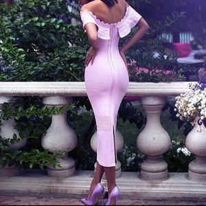Dresses & Skirts - Pink off shoulder bodycon sexy party dress