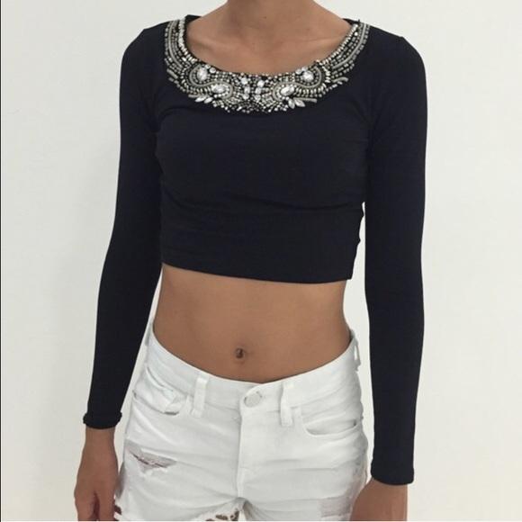 7c67e0e7d29d74 HP • Bebe Jeweled Crop Top •
