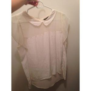 d7d76471707e6a Tops - Zara collar top with frill shoulder