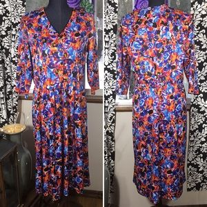 Vintage abstract floral print dress