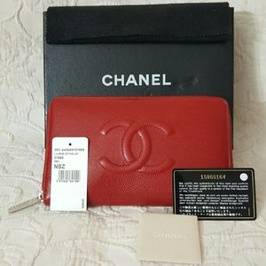 CHANEL Handbags - Chanel Caviar Wallet Red Lipstick Large Zip