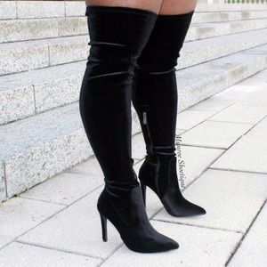 Cape Robbin Shoes - Black Velvet Crushed Thigh High Boots