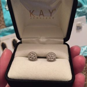 Kay Jewelers Jewelry - Kay Jewelers Silver Pave Earrings