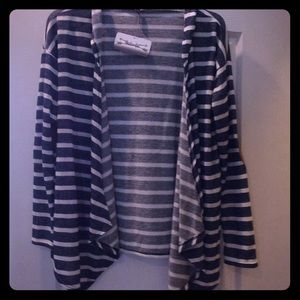 NEW navy and white stripe open front cardigan