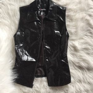 Ellen Tracy Faux Leather Zipper Vest
