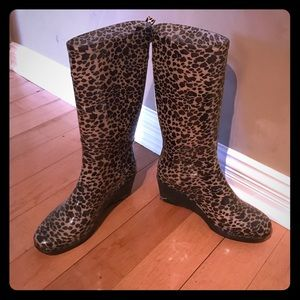 Capelli of New York Shoes - Cheetah print wedge rain boots