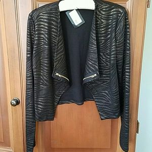 Black and Gold Animal Print Moto Style Jacket