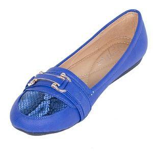 Women Ballerina Buckle Flats, b-1613, Royal Blue