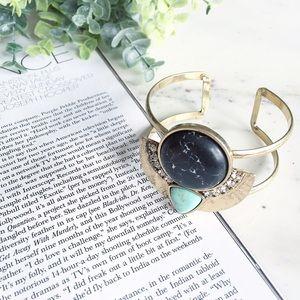"""Cleopatra"" Bracelet || Black Marble & Gold Cuff"