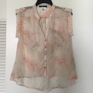 Love Squared Tops - Sheer Button Down Top