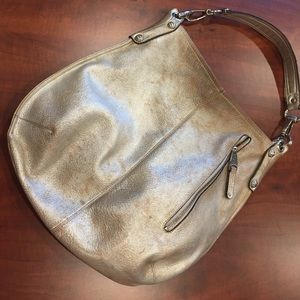 B Makowsky Handbags - B MAKOWSKY TWO TONE METALLIC HOBO TOTE BAG PURSE