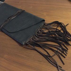 Vintage Handbags - Gorgeous dark brown leather fringe vintage clutch