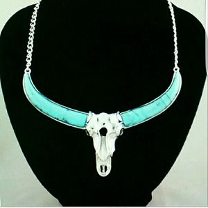 Jewelry - Boho Longhorn Skull Statement necklace