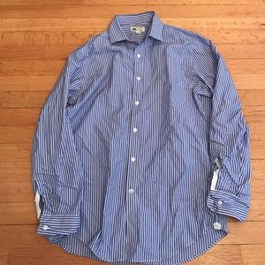 J.crew thomas mason blue white stripe button down