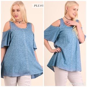 Tops - ONLY 2 XL LEFT!!Washed Cold Shoulder Top