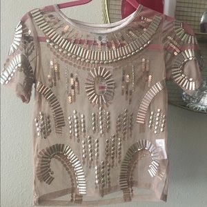 Bar III Tops   Brand New With Tag Embellished Illusion Top
