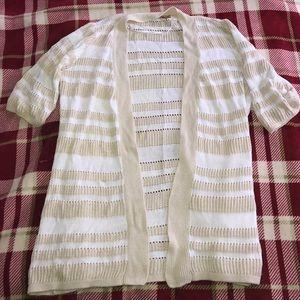 Belldini Sweaters - White & cream striped cardigan