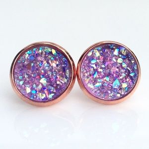 thejeweladdict Jewelry - 3 for 15🎀 Lavender faux druzy rose gold studs