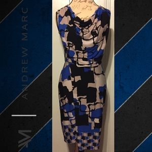 ANDREW MARC Chic Black/Blue Abstract Wrap Dress
