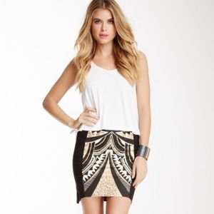 MINKPINK tribal print pencil skirt gold black