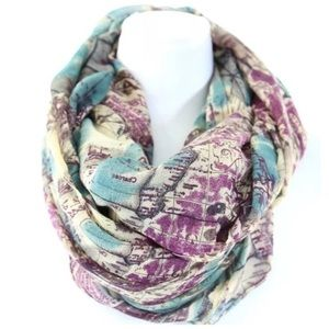 B138 Multi Vintage Passport Map Infinity Scarf