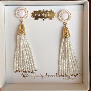 Mud Pie Jewelry - White Seed Bead Long Earrings