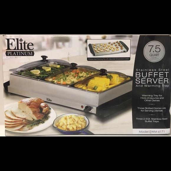 elite platinum stainless steel buffet server poshmark rh poshmark com elite triple buffet server elite gourmet buffet server