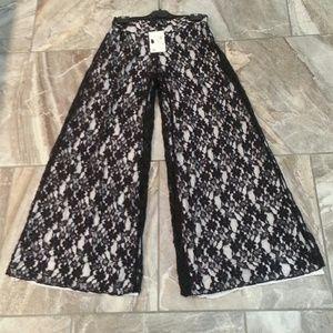 Elan Pants - Black & White Lace Palazzo Pants