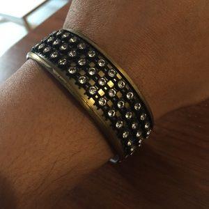 Half rhinestone half brass design hinge cuff