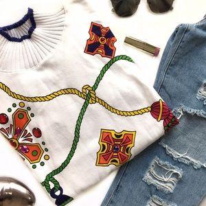 NWT Vintage Turtleneck Bejeweled Sweatshirt
