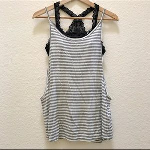 Forever 21 Tops - Forever 21 Gray and White Striped Tank