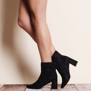 Breckelles Shoes - Black Suede Chunky Heel Bootie / Ankle Boot
