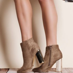 Tan Suede Chrome Heel Bootie / Ankle Boot