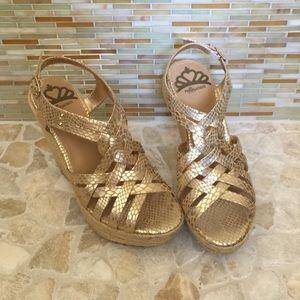 Fergalicious Shoes - Gold Wedges S8