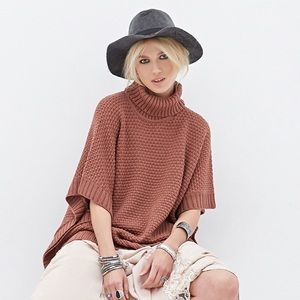 Forever 21 Sweaters - {forever 21} rose pink knit turtle neck poncho