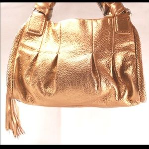 Cole Haan Handbags - COLE HAAN Gold Leather Hand Purse- Gold Leather