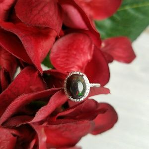 Jewelry - DIAMOND & BLACK OPAL HALO RING