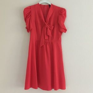 Cherry red tie neck dress