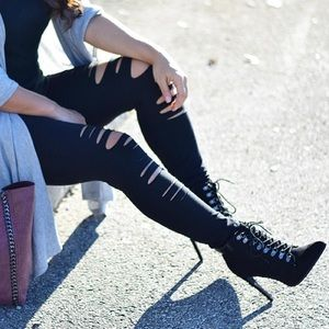 Forever 21 Shoes - Black Faux Suede Lace Up Pointed Ankle Booties