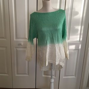 Green  Ombré High-Low Knit Sweater
