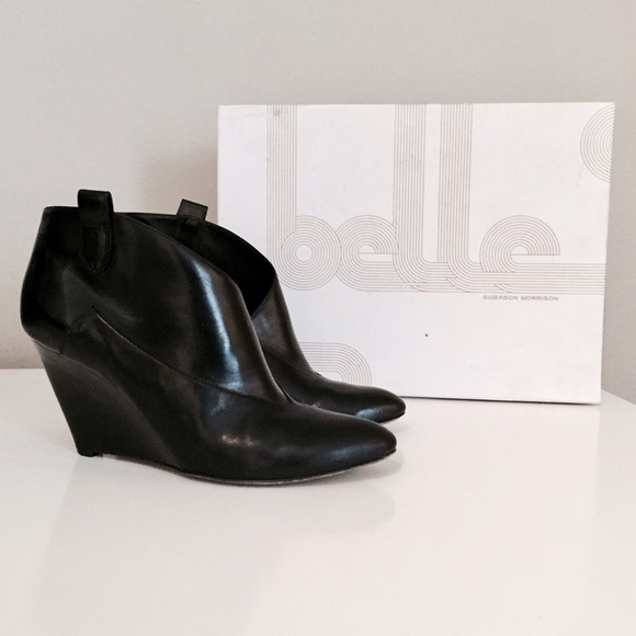 clearance visit new choice cheap online Belle by Sigerson Morrison Leather Wedge Booties buy cheap low cost 7MKyCqW